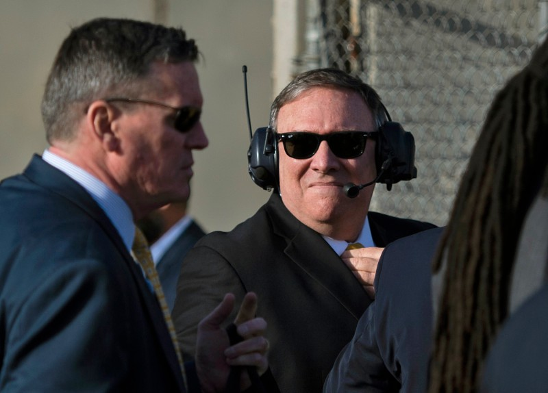 U.S. Secretary of State Mike Pompeo waits to board a helicopter at the Baghdad International Airport during his visit to Iraq on Jan. 9 in the Iraqi capital. (Andrew Caballero-Reynolds/AFP/Getty Images)
