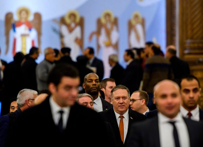 U.S. Secretary of State Mike Pompeo (center) visits Egypt on Jan. 10. (Andrew Caballero-Reynolds/AFP/Getty Images)
