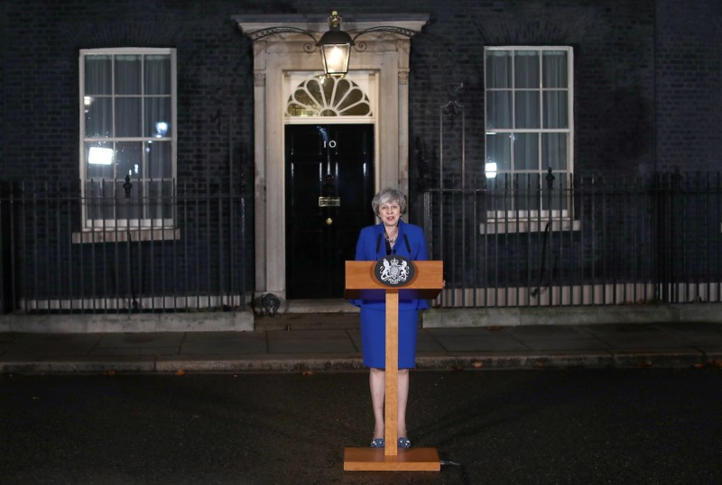 Prime Minister Theresa May addresses the media at No. 10 Downing St. after her government defeated a vote of no confidence in the House of Commons on Jan. 16. (Dan Kitwood/Getty Images)