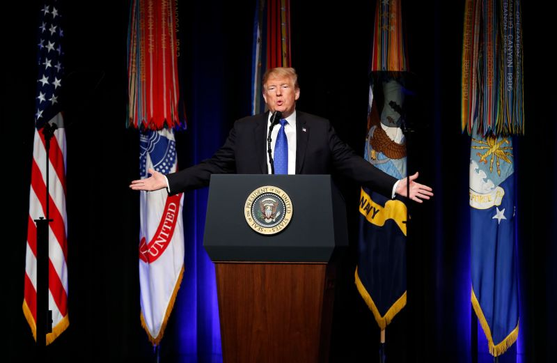 U.S. President Donald Trump participates in a Missile Defense Review announcement at the Pentagon in Arlington, Virginia, on Jan. 17. (Martin H. Simon - Pool/Getty Images)