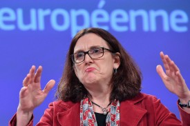 There will be no talks about farm goods, European Trade Commissioner Cecilia Malmstrom reiterated, scuppering real hopes for a sweeping trade deal, Jan. 18, 2019. (Emmanuel Dunand/AFP/Getty)