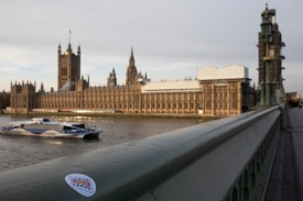 A 'Leave Means Leave' sticker on Westminster Bridge near the Houses of Parliament on Jan. 18, in London, England. (Dan Kitwood/Getty Images)