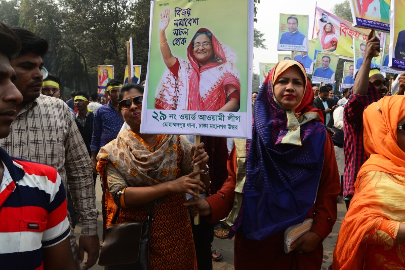 Supporters of the Bangladesh Awami League attend a grand rally in Dhaka, Bangladesh, on Jan. 19, to celebrate its landslide victory in the country's 11th parliamentary election, held on Dec. 30, 2018. (Mamunur Rashid/NurPhoto/Getty Images)