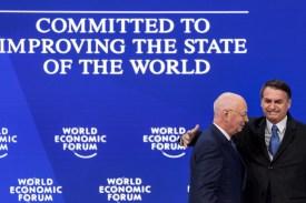 Brazilian President Jair Bolsonaro and Executive Chairman of the World Economic Forum Klaus Schwab at the World Economic Forum on Jan. 22, 2019 in Davos, Switzerland. (Fabrice Coferini/AFP/Getty Images)