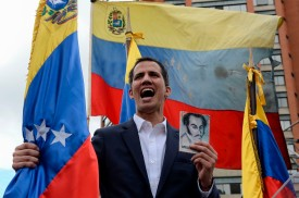 Venezuelan National Assembly head Juan Guaidó declares himself the country's acting president in Caracas on Jan. 23. (Federico Parra/AFP/Getty Images)