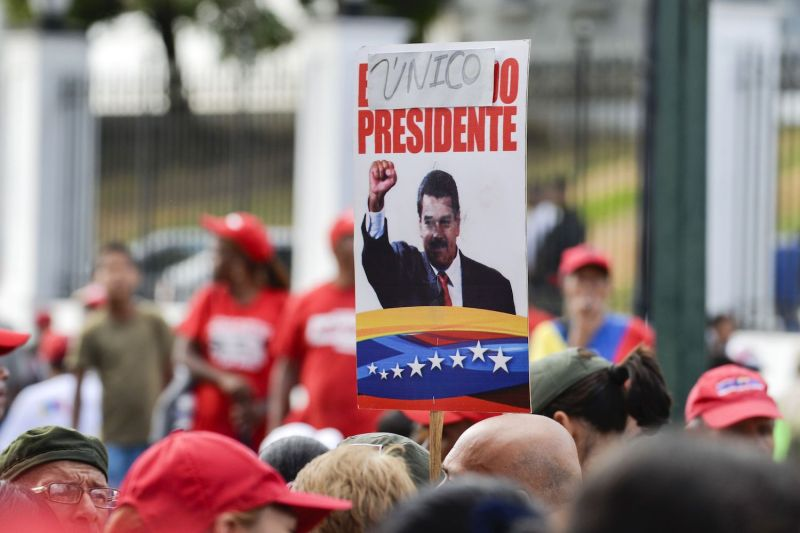 Supporters of Venezuelan President Nicolás Maduro rally in Caracas on Jan. 23. (Luis Robayo/AFP/Getty Images)