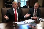 U.S. President Donald Trump, left, talks to journalists during a meeting with members of his cabinet, including acting Defense Secretary Patrick Shanahan, in the Cabinet Room at the White House on Jan. 02. (Chip Somodevilla/Getty Images)