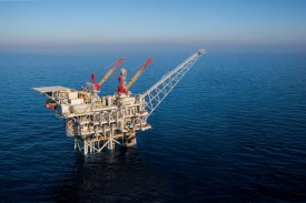 The Tamar natural gas production platform on March 28, 2013. There is growing regional cooperation on energy in the Eastern Mediterranean, whose natural gas boom kicked off here, off the coast of Israel. (Albatross/Getty Images)