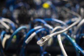 Network cables are seen going into a server in an office building following a cyberattack that affected dozens of countries in Washington, D.C., on May 13, 2017.  (Andrew Caballero-Reynolds/AFP/Getty Images)