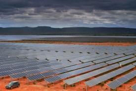 A view of an 800-hectare solar farm in Pirapora, Minas Gerais state, Brazil, on Nov. 9, 2017. (Carl de Souza/AFP/Getty Images)