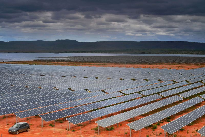 A view of an 800-hectare solar farm in Pirapora, Minas Gerais state, Brazil, on Nov. 9, 2017. (Carl de Souza/AFP/Getty Images)