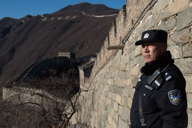 A Chinese policeman secures an area ahead of the arrival of U.S. First Lady Melania Trump on the Great Wall of China on the outskirts of Beijing on Nov. 10, 2017. (Nicolas Asfouri/AFP/Getty Images)