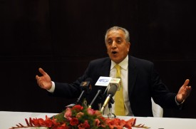 Former U.S. ambassador to Afghanistan and Iraq Zalmay Khalilzad gives a press conference at Serena Hotel in Kabul on Oct. 14, 2009. (Massoud Hossaini/AFP/Getty Images)
