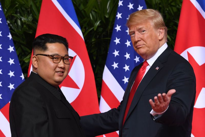 U.S. President Donald Trump meets with North Korean leader Kim Jong Un  in Singapore on June 12, 2018. (Saul Loeb/AFP/Getty Images)