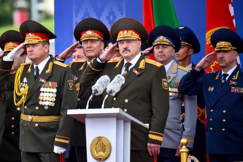 Belarusian President Alexander Lukashenko (center) salutes during a military parade marking Independence Day in Minsk on July 3, 2018. (Sergei Gapon/AFP/Getty)