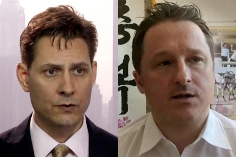 Former Canadian diplomat Michael Kovrig (left) and Canadian Michael Spavor. (AP)
