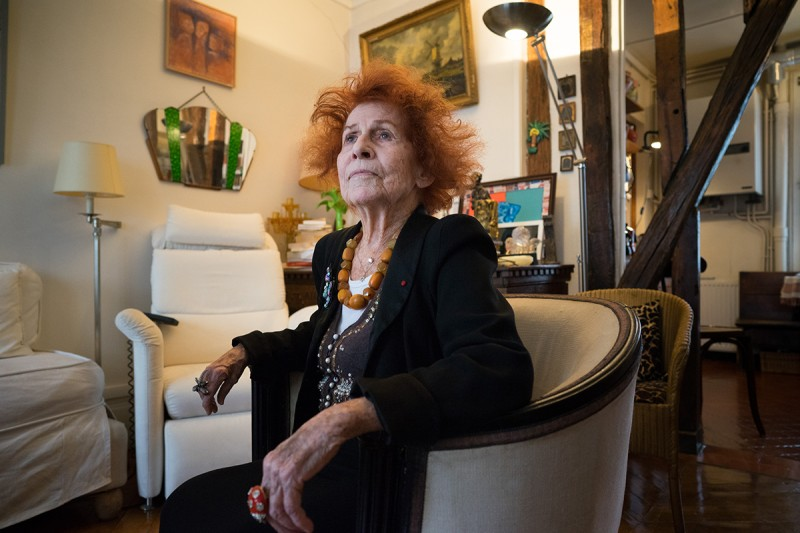 PARIS, FRANCE - JANUARY 24: Marceline Loridan-Ivens, 89 year old writer, film maker, and Holocaust survivor, sits in the living room of her apartment in Paris, France on January 24, 2018. (Photo by Annabelle Marcovici for The Washington Post via Getty Images)