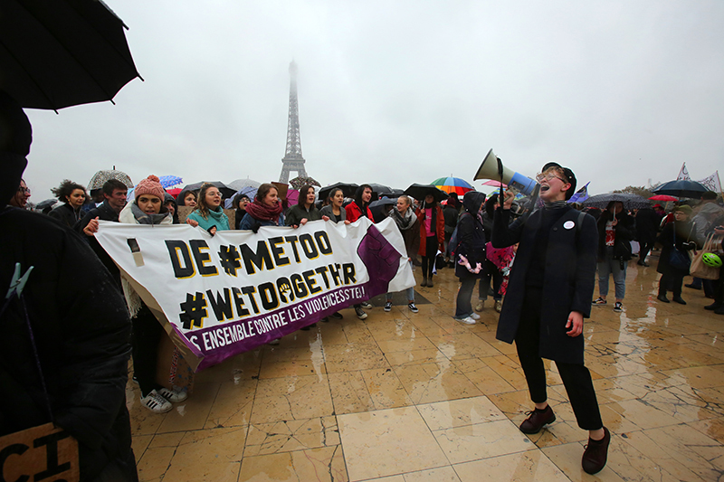 Protesters gather at the Trocadero, facing the Eiffel Tower, during the Women's March in Paris on Jan. 21, 2018. (Owen Franken/Corbis via Getty Images)