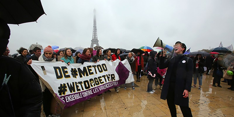 Protesters gather at the Trocadero, facing the Eiffel Tower, to rally for equality during the Women's March on Jan. 21, 2018, in Paris.  (Owen Franken/Corbis via Getty Images)