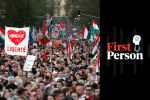 Protesters demonstrating against the right-wing government of Hungarian Prime Minister Viktor Orban hold a rally in Budapest, Hungary, on April 14, 2018. Demonstrators demanded a free press and independent public media and new laws to ensure fair elections. (Laszlo Balogh/Getty Images)