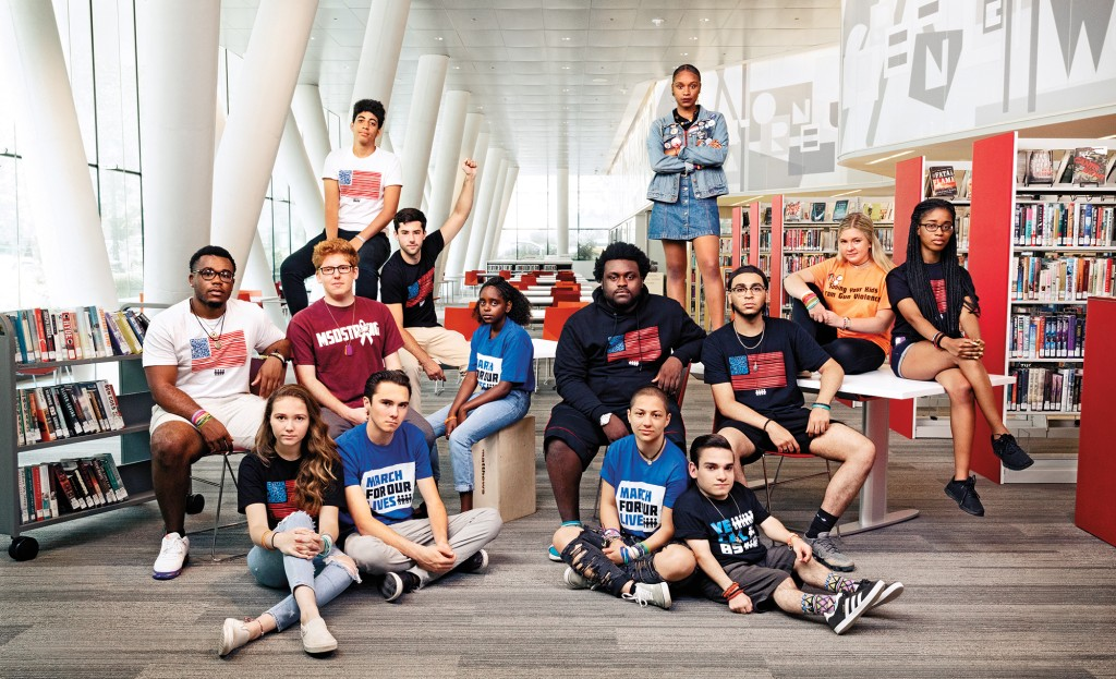 March for Our Lives activists pose for a photo in Washington, D.C., in July 2018. Top, from left: Daniel Williams and Bria Smith. Seated, middle row, from left: Jammal Lemy, Matt Deitsch, Matt Post, Naomi Wadler, Alex King, Ramon Contreras, Jaclyn Corin, and Kyrah Simon. Seated on the floor, from left: Lauren Hogg, David Hogg, Emma González, and Brandon Farbstein. (Jesse Dittmar)