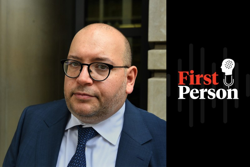 The Washington Post reporter Jason Rezaian at the E. Barrett Prettyman U.S. Courthouse in Washington on Jan. 8 before a hearing for his lawsuit against the government of Iran. (Michael S. Williamson/The Washington Post via Getty Images)