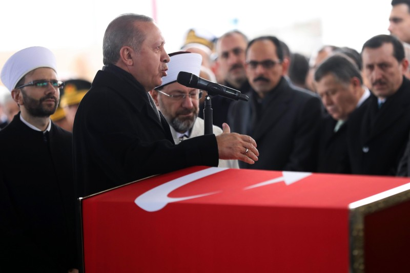 Turkish President Recep Tayyip Erdogan delivers a speech during the funeral ceremony for Turkish soldier Musa Ozalkan on Jan. 23, 2018 at Ahmet Hamdi Akseki Mosque in Ankara.