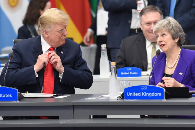 U.S. President Donald Trump and British Prime Minister Theresa May attend the G20 Leaders' Summit in Buenos Aires, Argentina, on Nov. 30, 2018.