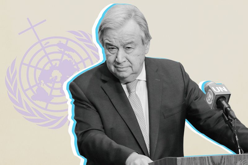 U.N. Secretary-General António Guterres. (Luiz Rampelotto/NurPhoto via Getty Images/Foreign Policy illustration)