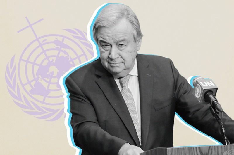 U.N. Secretary-General António Guterres. (Luiz Rampelotto/NurPhoto via Getty Images/Foreign Policy illustration)