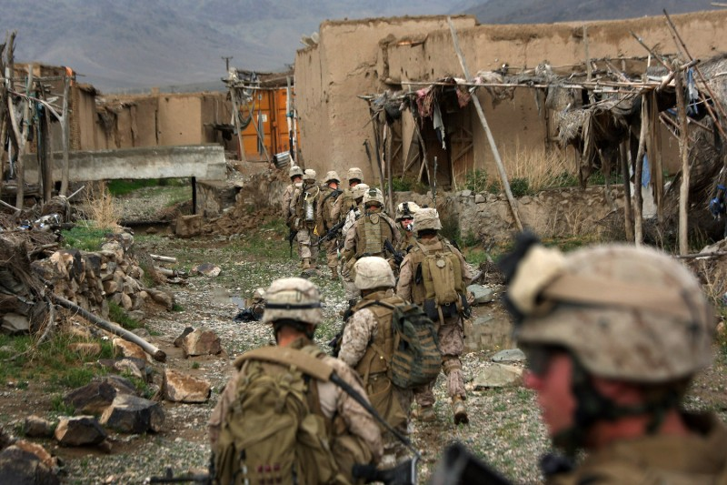 U.S. Marines patrol on April 1, 2009 through Now Zad in Helmand province, Afghanistan.