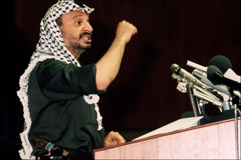 Chairman of the Palestine Liberation Organization Yasser Arafat addresses delegates of the Organization of African Unity in July 1972 in Kampala, Uganda.
