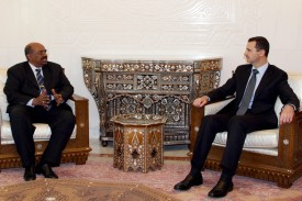 Syrian President Bashar al-Assad meets with Sudanese counterpart Omar al-Bashir in Damascus on January 12, 2008.