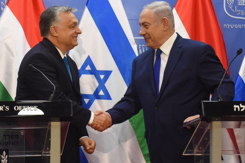 Hungarian Prime Minister Viktor Orban shake hands with Israeli Prime Minister Benjamin Netanyahu  at the prime minister's office in Jerusalem, Israel, July 19, 2018.