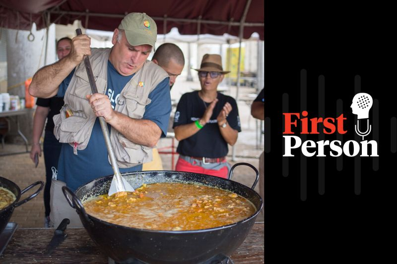 The chef José Andrés stirs paella in a giant pan during the #ChefsForPuertoRico relief operation in San Juan, Puerto Rico, in October 2017.