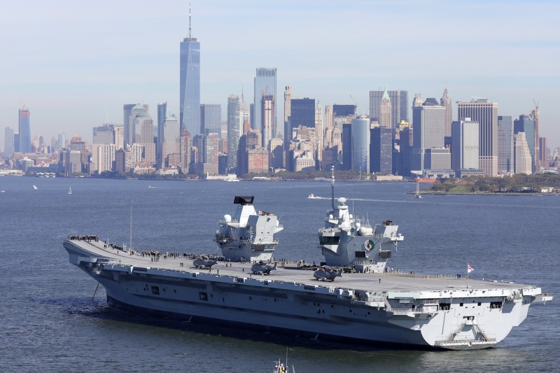 Britain's new aircraft carrier HMS Queen Elizabeth arrives in New York on Oct. 19, 2018. (Christopher Furlong/Getty Images)