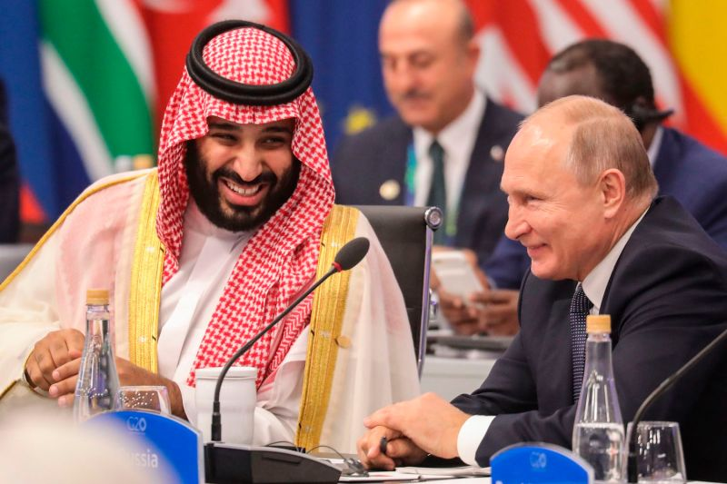 Saudi Crown Prince Mohammed bin Salman laughs with Russian President Vladimir Putin at the G-20 summit in Buenos Aires on Nov. 30, 2018. (Ludovic Marin/AFP/Getty Images)
