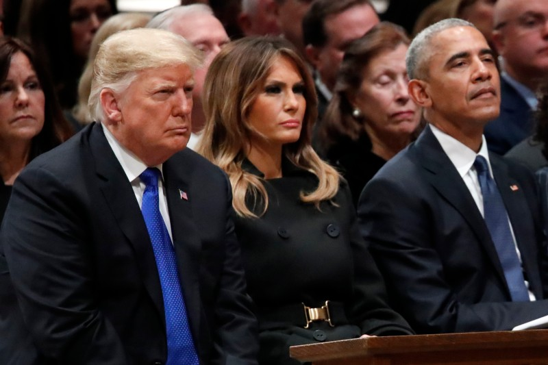 President Donald Trump, first lady Melania Trump, and former President Barack Obama at the Washington National Cathedral on Dec. 5, 2018. (Alex Brandon/Getty Images)