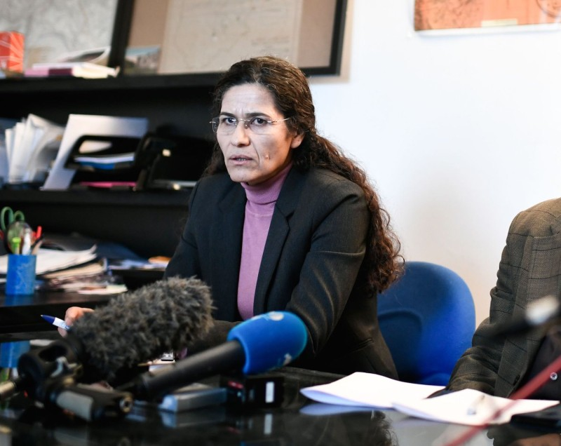 Ilham Ahmed, co-chair of the Syrian Democratic Council, delivers a speech in Paris on Dec. 21, 2018. (Stephane De Sakuyin/AFP/Getty Images)