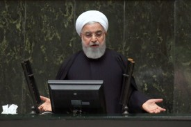 President Hassan Rouhani speaks to the Iranian parliament in Tehran on Dec. 25, 2018. (Atta Kenare/AFP/Getty Images)