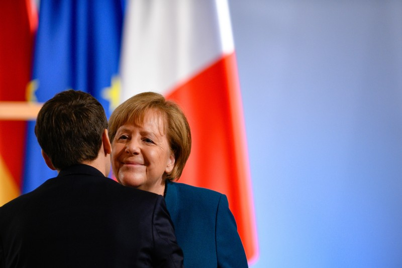 German Chancellor Angela Merkel and French President Emmanuel Macron were all smiles just weeks ago on Jan. 22, but that could change after Paris bucked Berlin's hopes of building a Russian pipeline. (Sascha Schuermann/Getty Images)