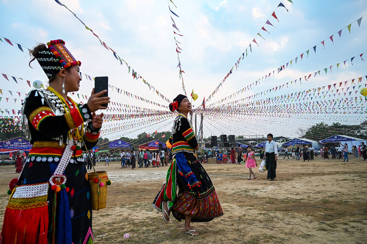 Kachin women from a confederation of ethnic groups attend the Myanmar Ethnics Culture festival in Yangon on Jan. 29. (Ye Aung Thu/AFP/Getty Images)