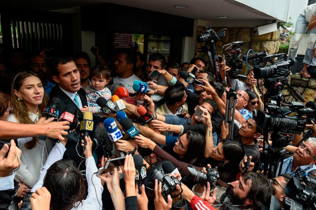 Venezuelan opposition leader Juan Guaidó speaks to the press in Caracas on Jan. 31. (Federico Parra/AFP/Getty Images)