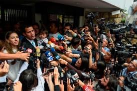 Venezuelan opposition leader Juan Guaidó speaks to the press in Caracas on Jan. 31. (Federico Parra/AFP/Getty Images)