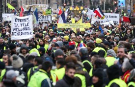 A yellow vest protest against police violence in Paris on Feb. 2. (Zakaria Abdelkafi/AFP/Getty Images)