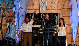 Nayib Bukele (second from right), his wife, Gabriela Rodríguez (right), and Vice President-elect Félix Ulloa (second from left) celebrate after Bukele won the Salvadoran presidential election in San Salvador on Feb. 3. (Luis Acosta/AFP/Getty Images)