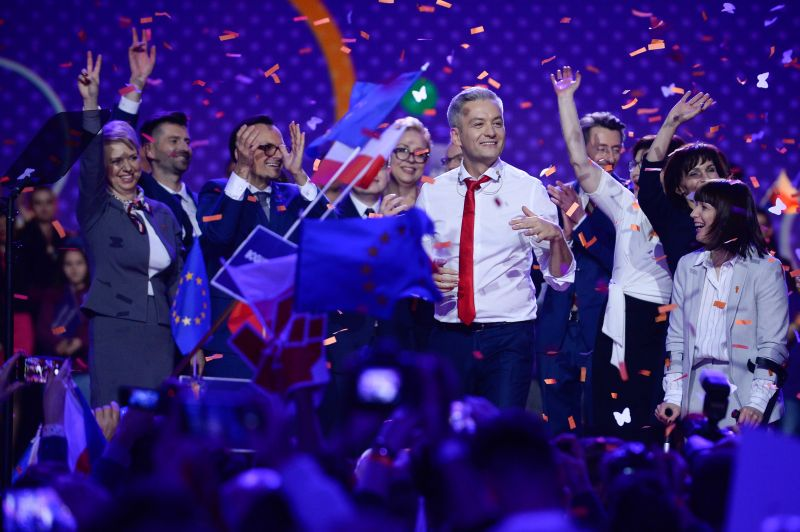 Robert Biedron, the liberal, pro-European and openly-gay mayor of the north Polish city of Slupsk, greets supporters at the launch of his new political movement Wiosna on Feb. 3, 2019 in Warsaw. (Omar Marques/Getty Images)