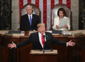 U.S. President Donald Trump, with Speaker of the House Nancy Pelosi and Vice President Mike Pence looking on, delivers the State of the Union address at the U.S. Capitol in Washington, D.C., on Feb. 5. (Chip Somodevilla/Getty Images)