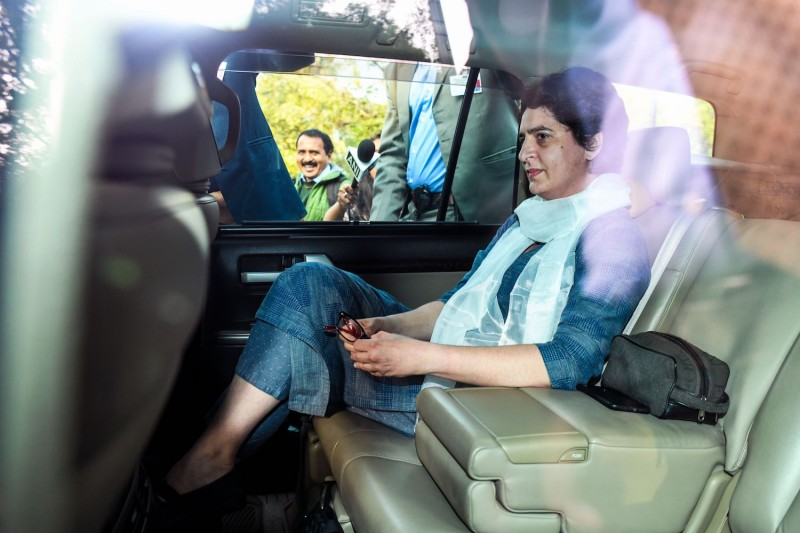 Indian politician Priyanka Gandhi arrives at the Directorate of Enforcement in New Delhi on Feb. 6. (Chandan Khanna/AFP/Getty Images)
