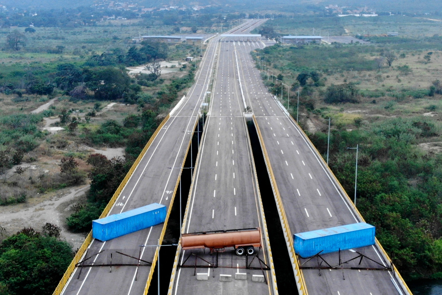 Venezuelan military forces blocked the Tienditas Bridge ahead of an anticipated humanitarian aid shipment at the border between Cucuta, Colombia, and Tachira, Venezuela, with containers on Feb. 6. (Edinson Estupinan/AFP/Getty Images)